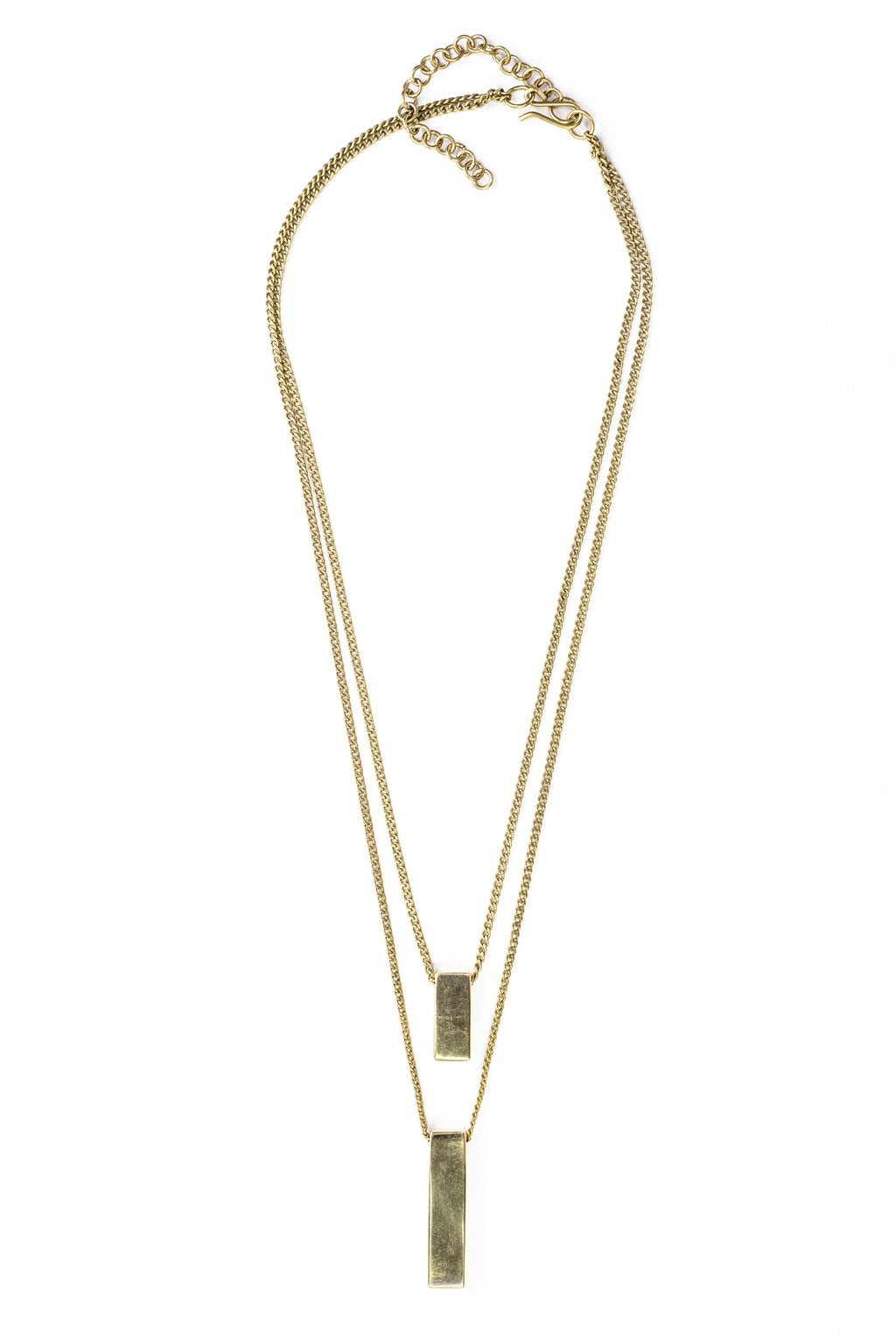 Double Brass Bar Pendants Necklace
