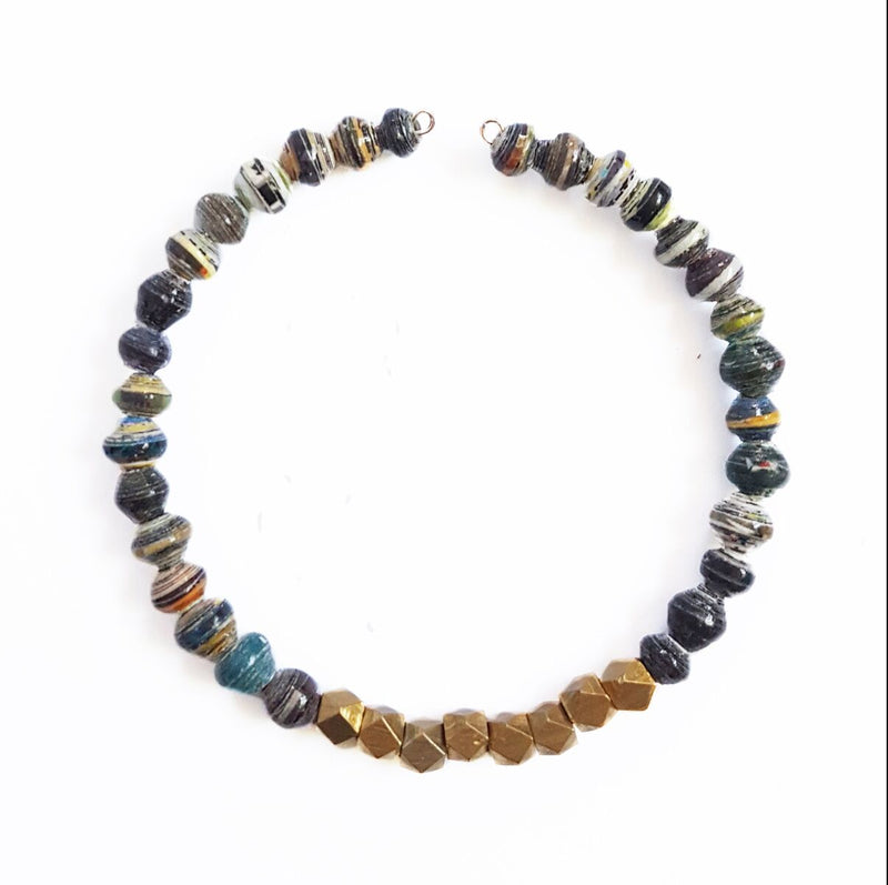 Paper Beads and Brass Layering Bracelet from Kenya- Dusk