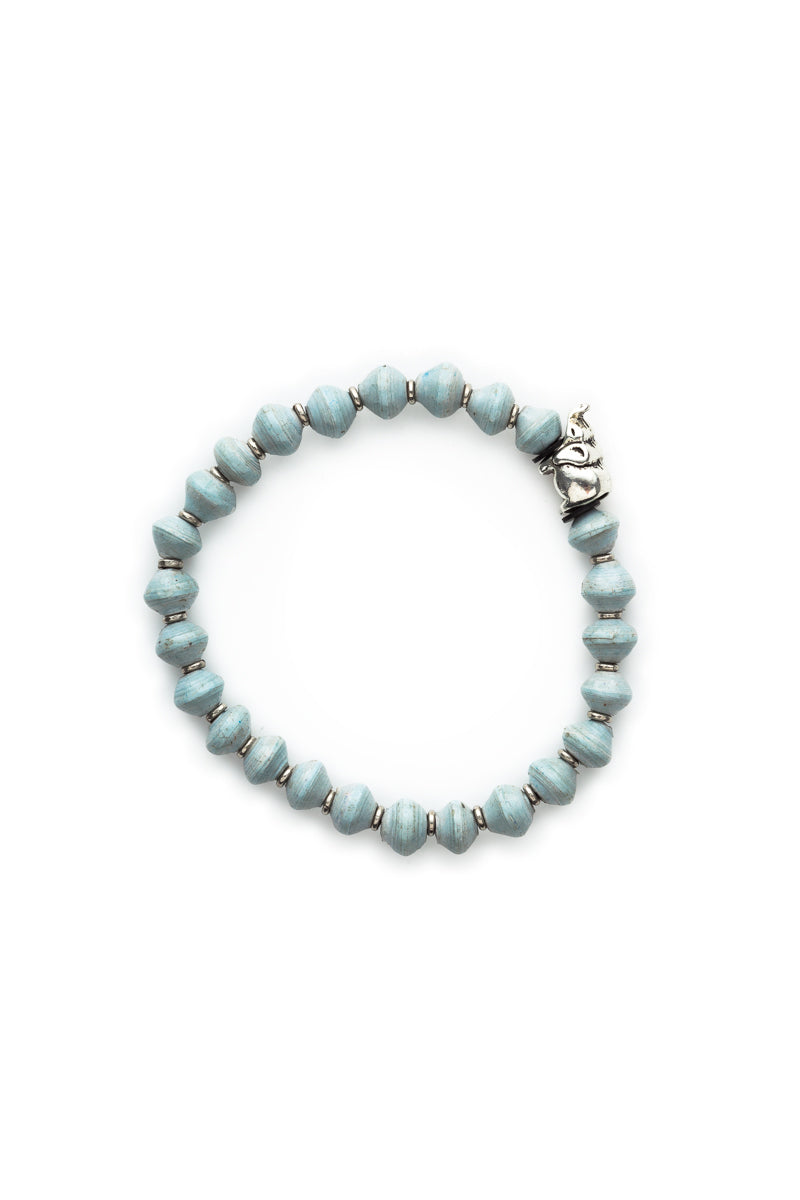 Sky Blue Beaded Bracelet With Elephant Charm
