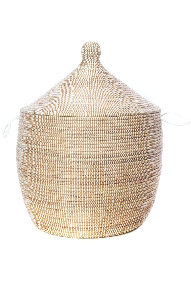 Handwoven Short White Hamper