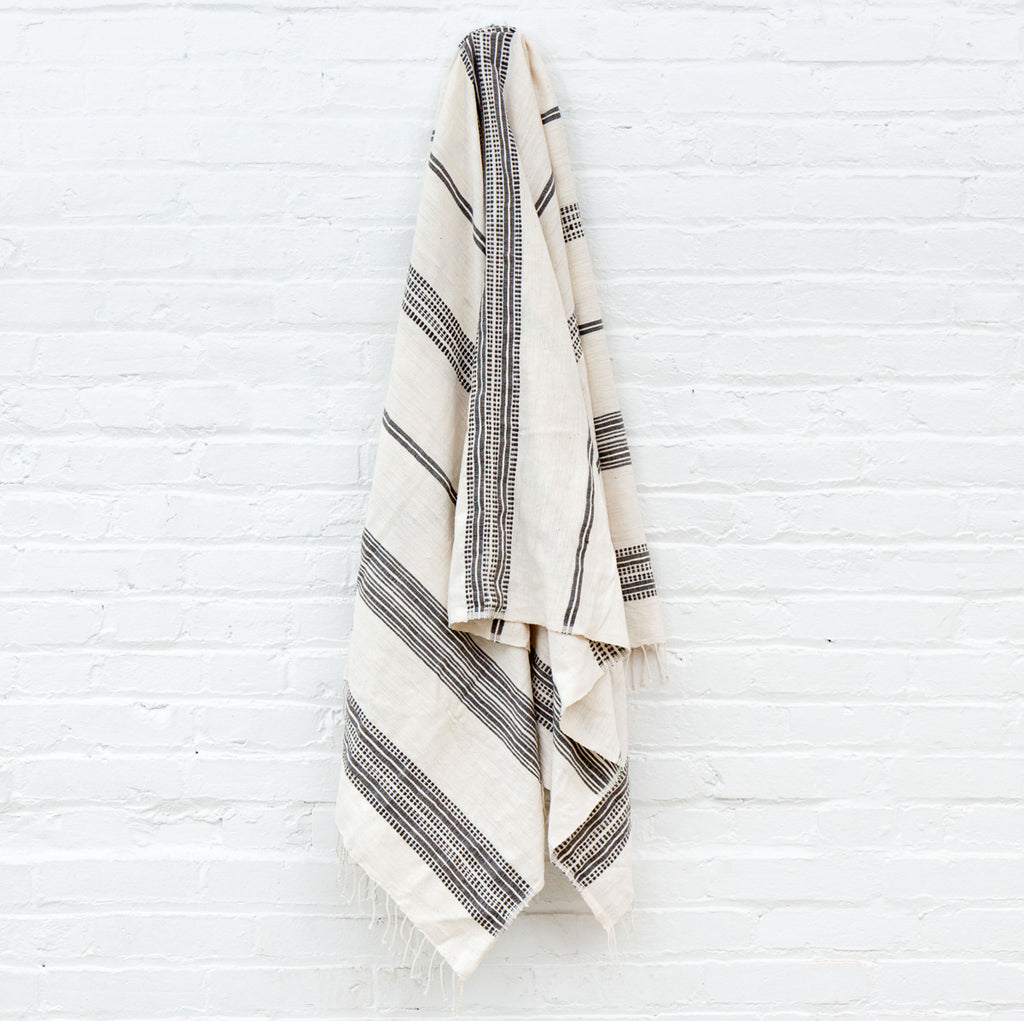 Natural Cotton Striped Bath Towel