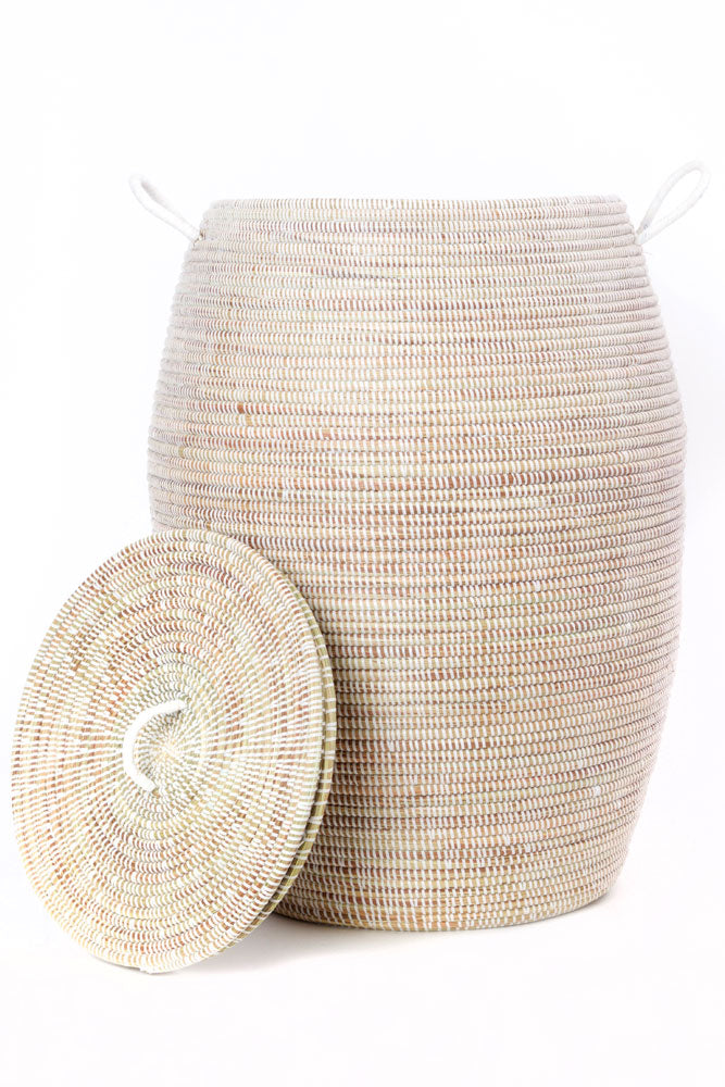 Handwoven Tall White Bongo Laundry Basket