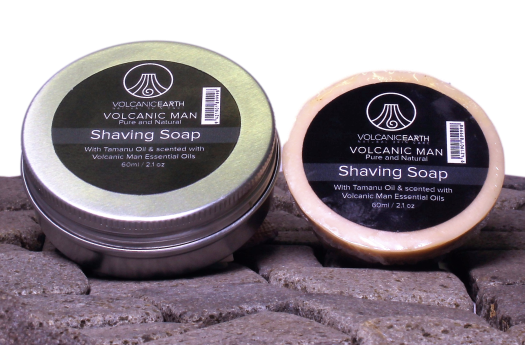 Natural men's coconut oil, shaving soap with Tamanu Oil and aluminium shaving dish for a smooth, healthy complexion.
