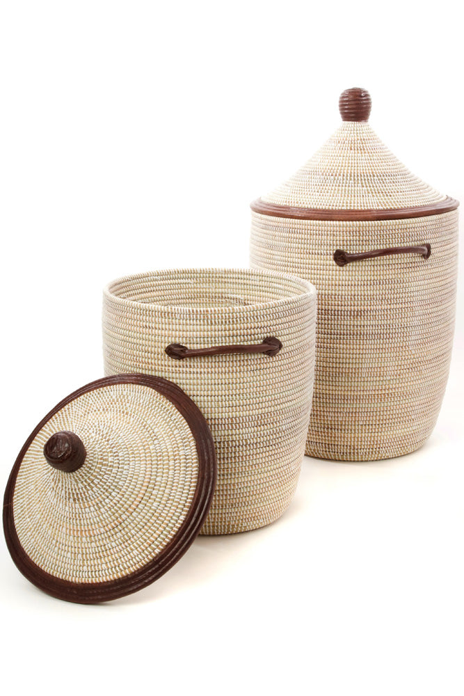 Handwoven Natural and White with Leather Hamper Set