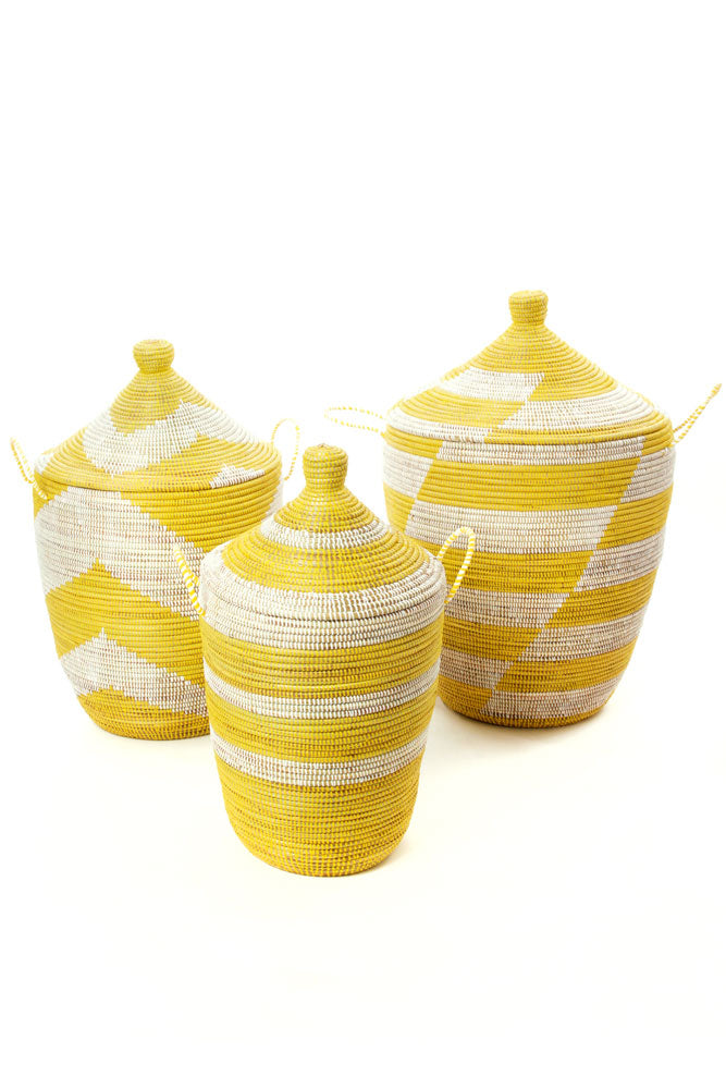 Handwoven Set of 3 Yellow and White Mixed Patterned Hampers