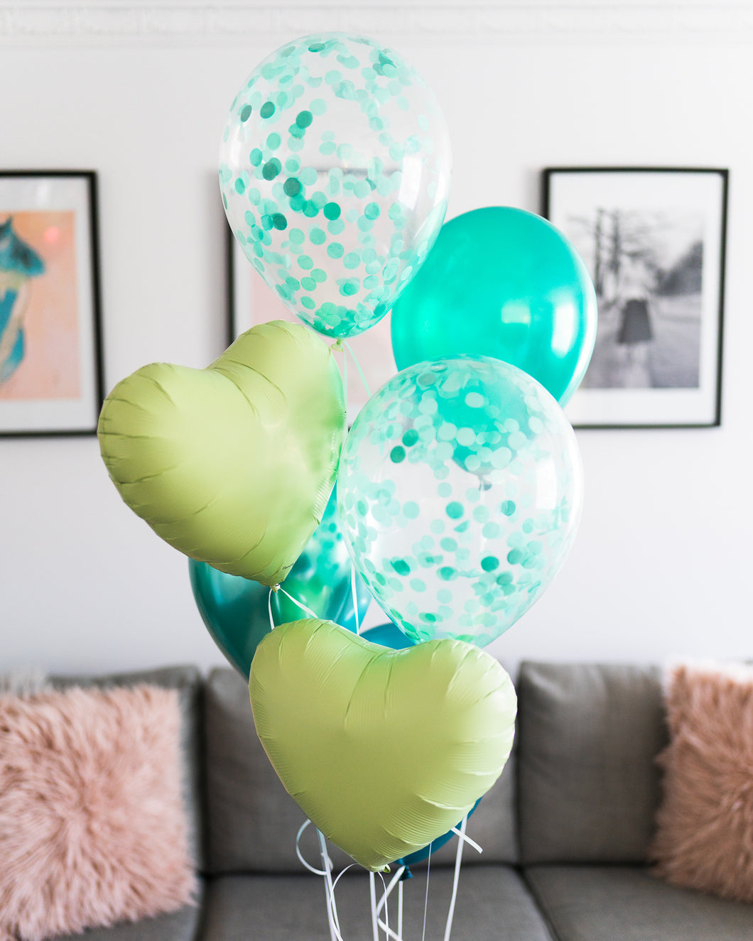 Balloon Bouquet - Confetti, Foil Hearts & Plain Balloons