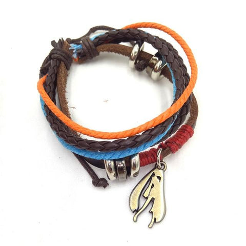 Attack on Titan One Piece Fairy Tail Naruto Death Note Sword Art Online Hatsune Miku Bleach Leather Bracelet Accessories