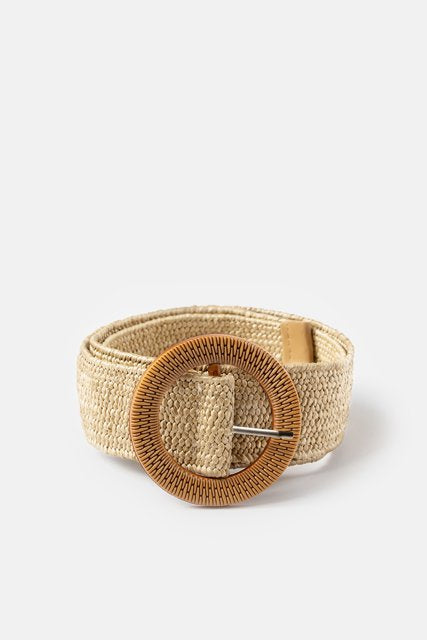 Rattan Belt Round Buckle Natural