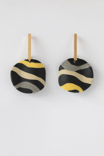 Striped Disc Gold Earrings
