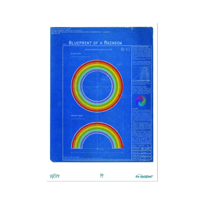 Blueprint of a rainbow Fine Art Print