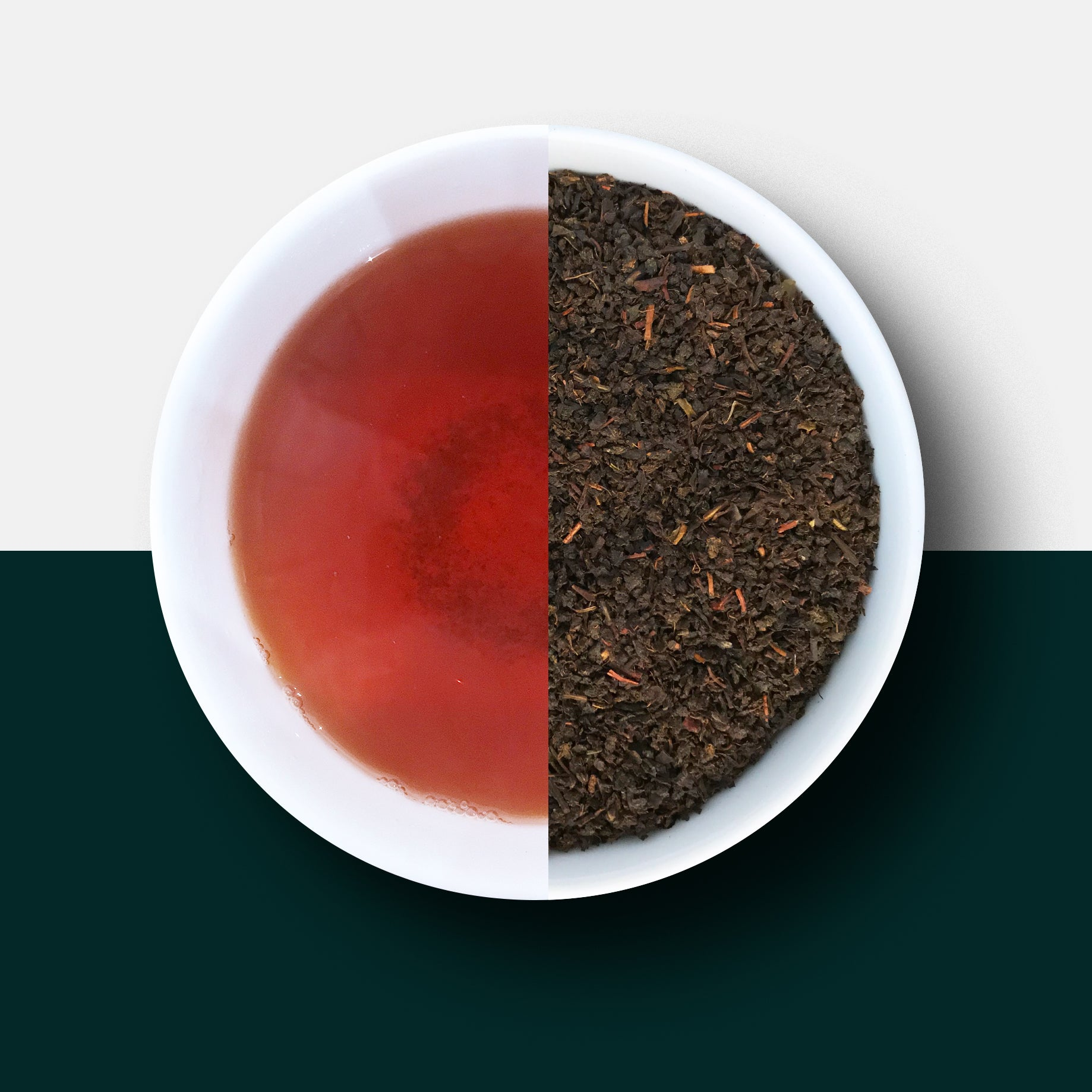 Ceylon tea, black tea and leaves