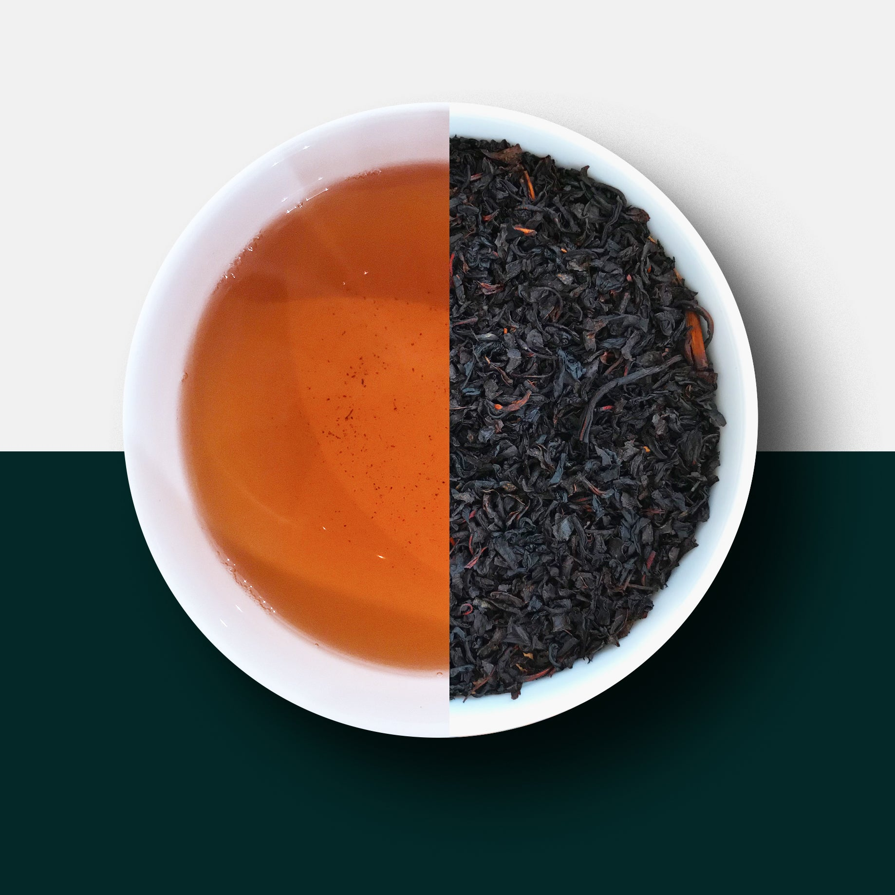 Decaf tea, earl grey tea and leaves