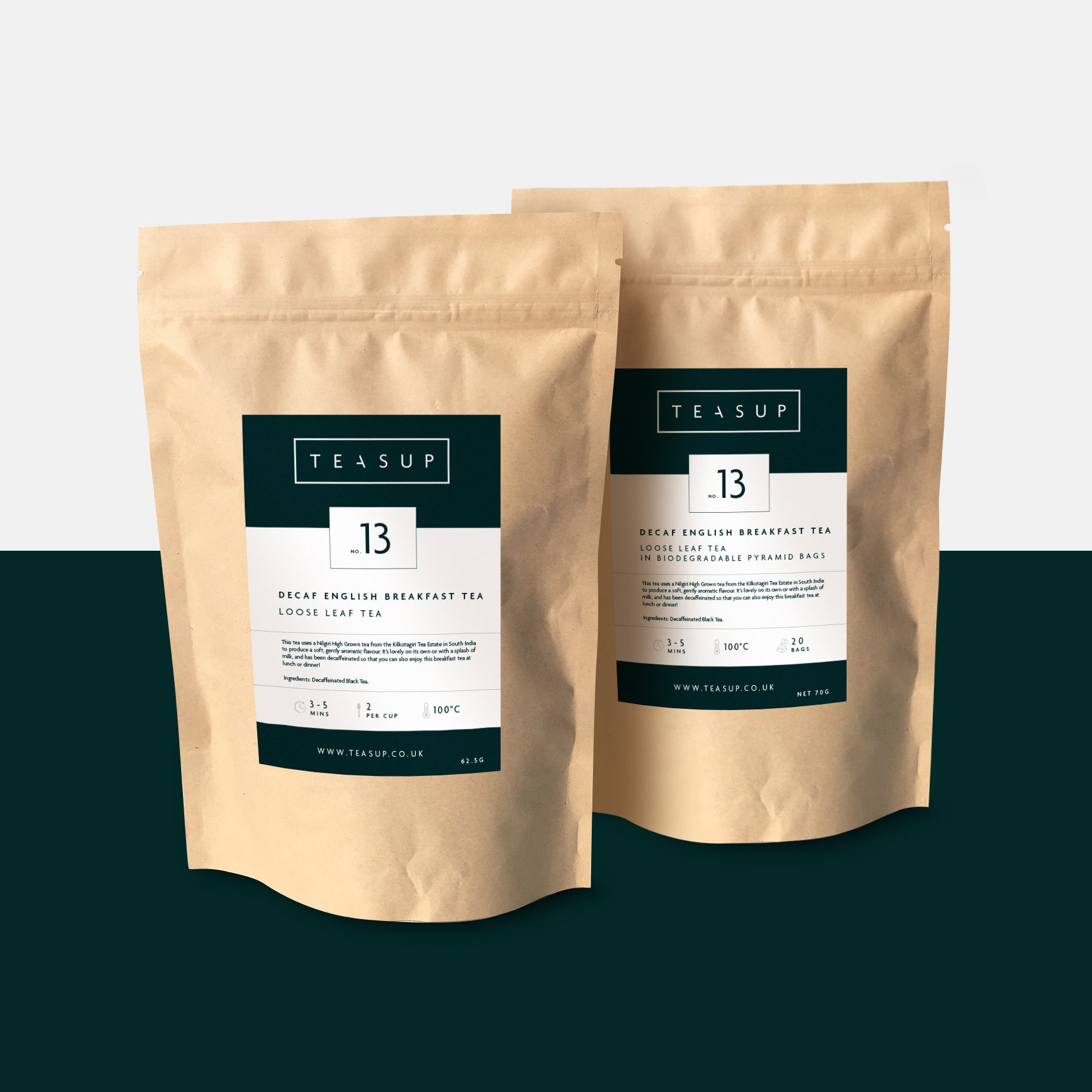 Decaf English Breakfast in Biodegradable Pouches by Teasup