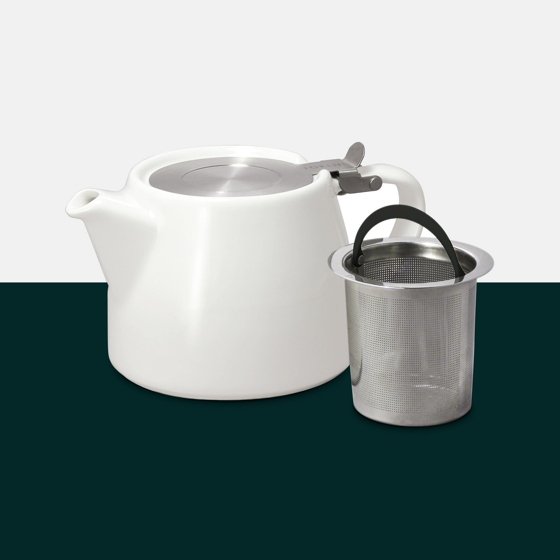 White Stump Teapot And Infuser by Forlife