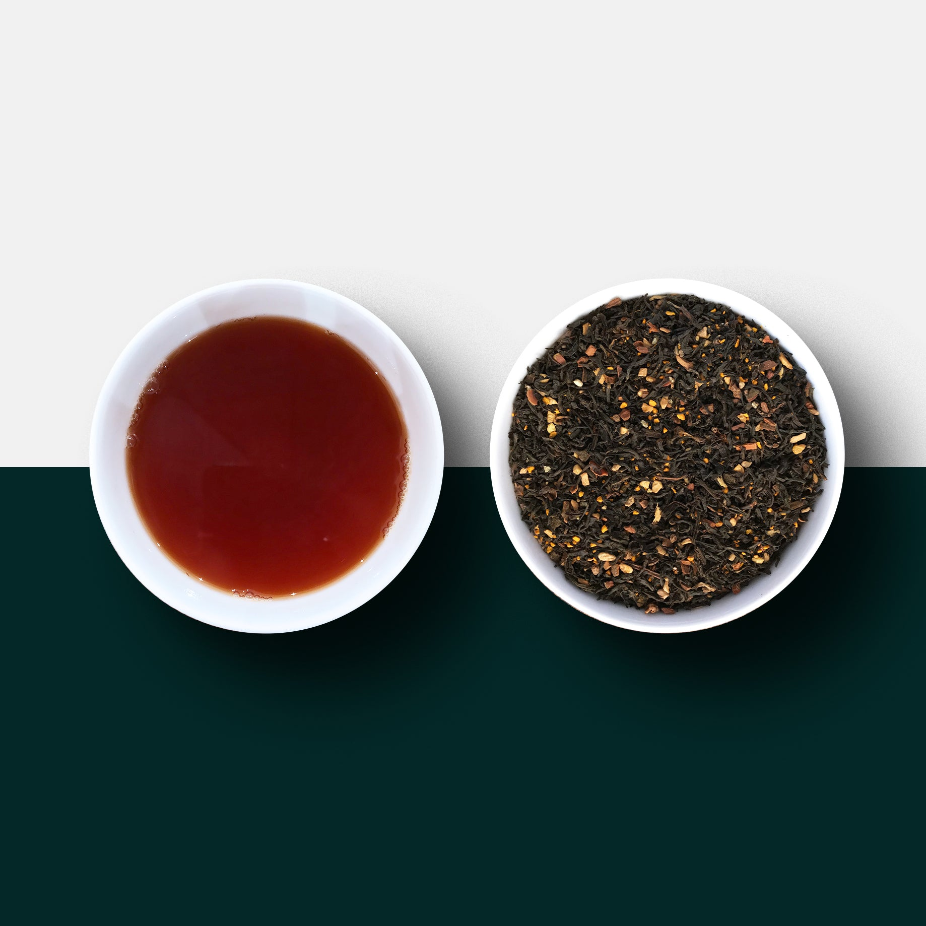 Turmeric chai loose leaf tea and liquid