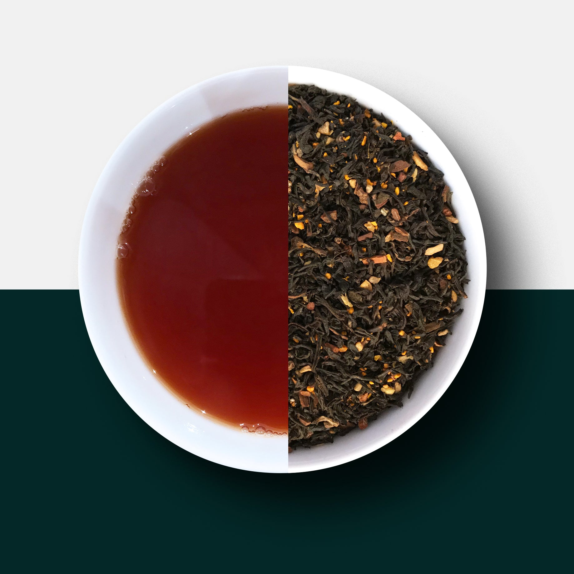 Turmeric chai loose leaf tea leaves and liquid