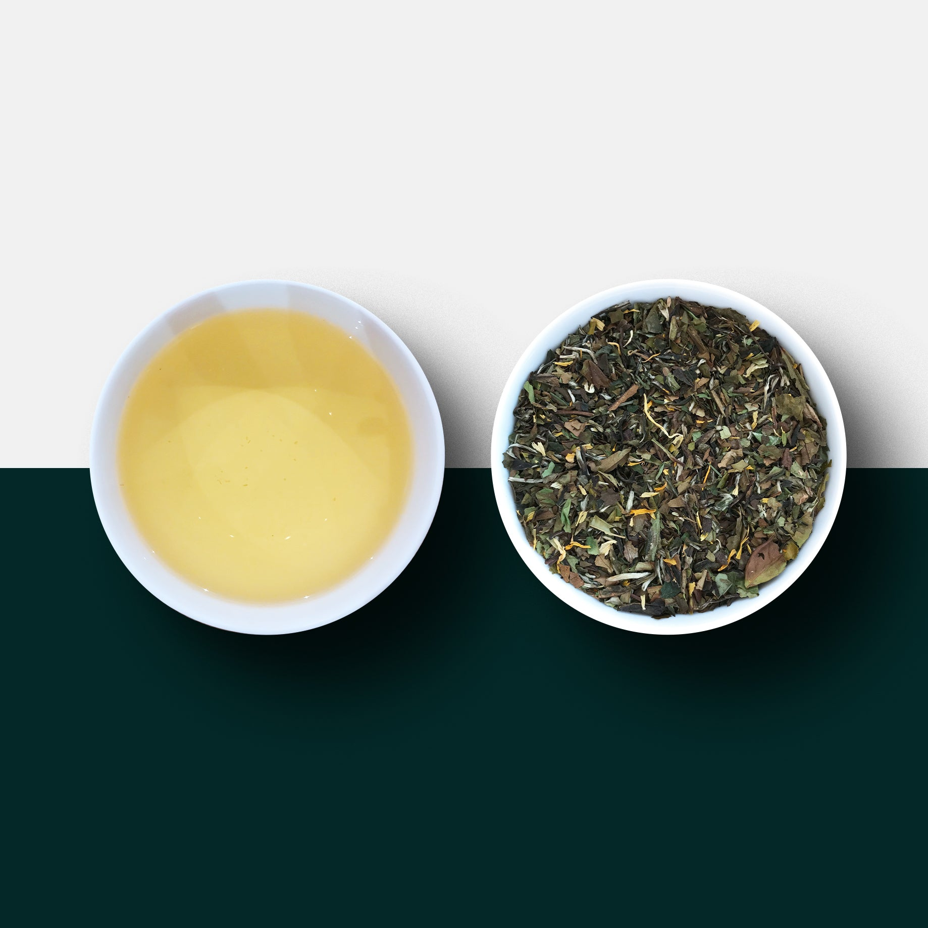 White tea and mango - mango tea - loose leaf tea and liquor
