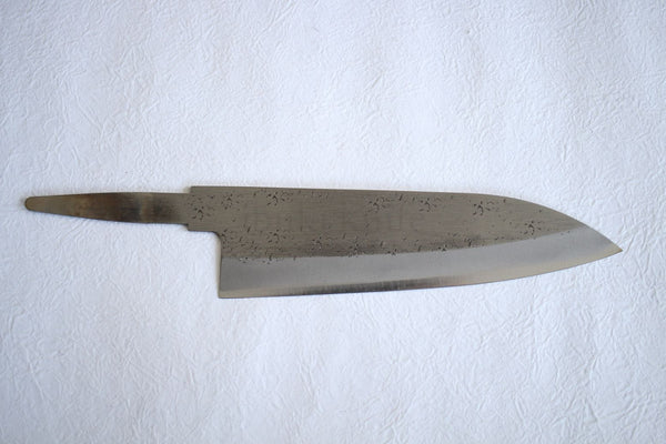 Ibuki hammered Aogami Blue #2 steel blank blade Santoku Custom knife Making 165mm push tang