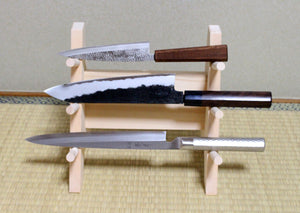 Japanese wooden knife stand display holder tower rack for 3 knives