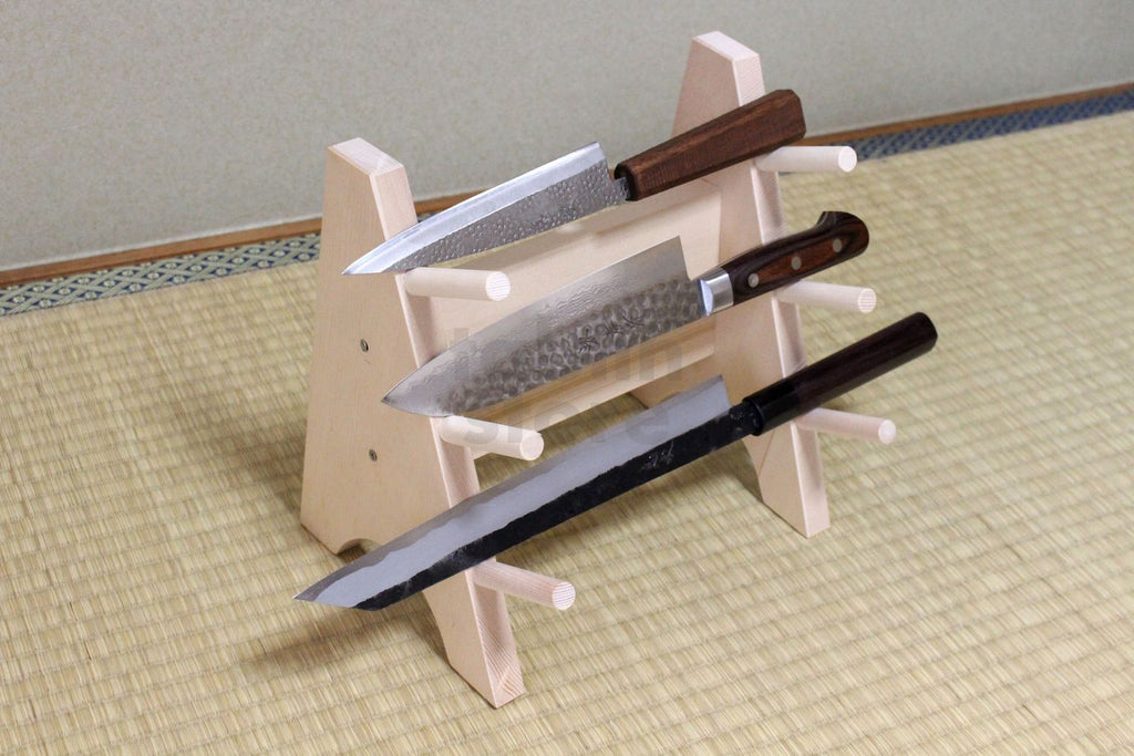 Japanese Wooden Knife Stand Display Holder Tower Rack For