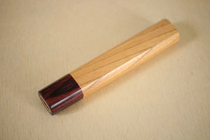 Japanese Zelkova octagon wooden knife wa handle blank Mahogany bolster 140mm