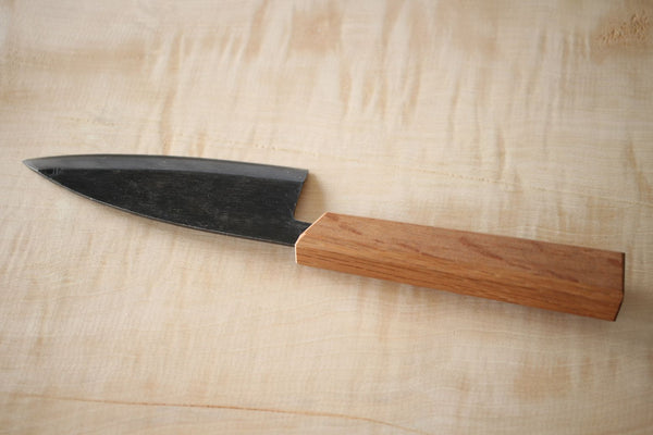 Japanese quercus oak octagon wooden knife wa handle blank top askew cutting 125mm