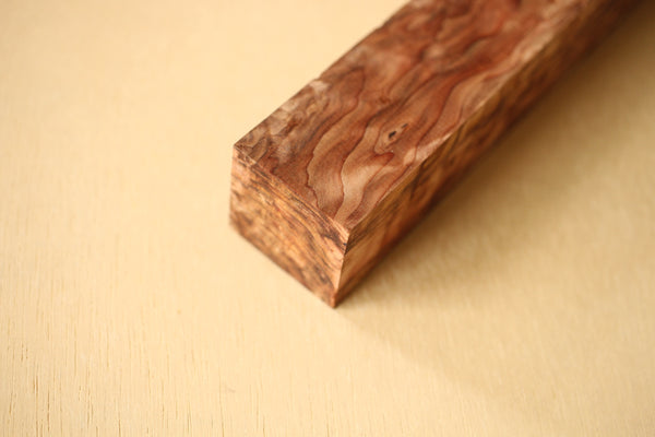 Japanese precious cedar gnarl wood knife handle blank B 202 x 32 x 32 mm