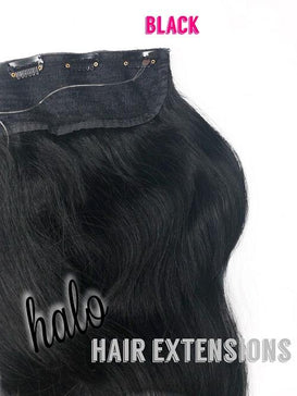 "Halo/Clip In Hair Extensions/Human Hair /24"" Length/150grams/Black"