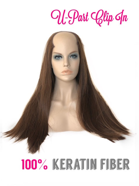 "U Part Clip In Hair Extensions | Silky Straight | Warm Brunette | 24"" Length 