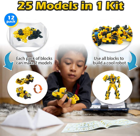 Image of BLUEKIEE™ 576PCS Boy Children's Building Blocks Set Truck Car Toys Kids Robot Bricks LegoINGLYS Educational Toys Mini engineering vehicle