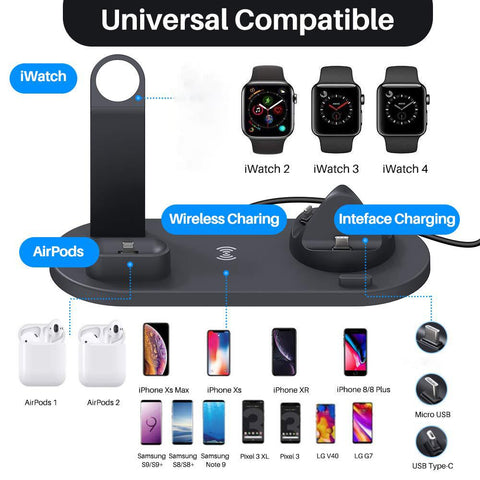 Image of DIGITBLUE® Qi Wireless Charger 4 in 1 Holder Stand For Apple Watch Series 5 4 3 2 Iwatch Airpods Iphone 11 Pro Max XS MAX XR X Dock Station