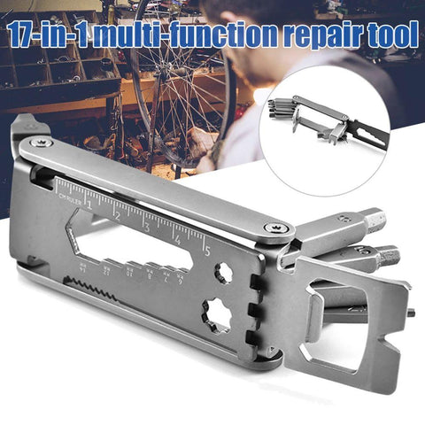Image of BLUEKIEE™ 17 In 1 Bicycle Tools Sets, Stainless Steel Multi Function Repair Mountain Road Bike Tool, Kit Hex Wrench Cycle Screwdriver Tool