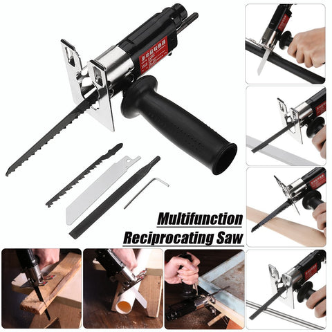 Image of BLUEKIEE™ Multifunction Reciprocating Saw Attachment, Change Electric Drill into Reciprocating Saw Jig Metal File for Wood Metal Cutting