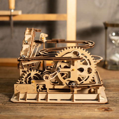 4 Kinds DIY Wood Puzzel | Miniature Figurines Waterwheel Coaster | Marble Run Game | Home Decor | Living Room Table Desk Decoration | Accessories Kids Gift Toys