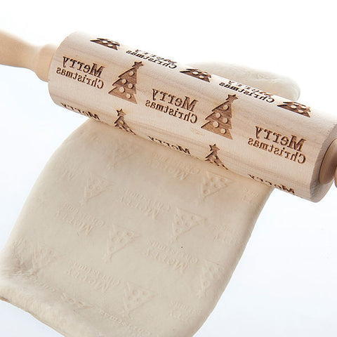 Image of Merry Christmas Elk Wooden Print Rolling Pin | Christmas Home Decorations Rolling Pin | Navidad Decor Noel Dessert Tools | DIY Craft Rolling Pin | for Christmas Day New Year