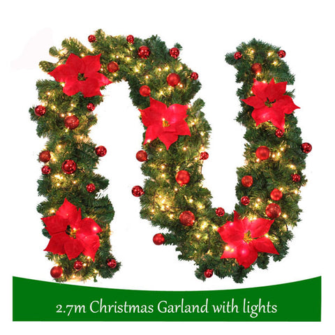2.7M Christmas Garland Rattan Lights | Christmas Decorations Light | Xmas Tree Ornaments | for Home Christmas Day Party