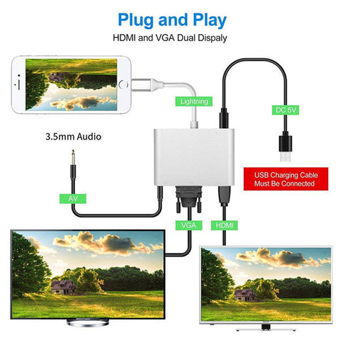 Image of Lighting to HDMI VGA AV Adapter | 4 in 1 Plug and Play Digtal AV Adapter | for iPhone X / 8 / 8Plus/7/7Plus/6/6s/6s Plus/5/5s iPad