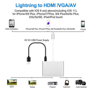 Lighting to HDMI VGA AV Adapter | 4 in 1 Plug and Play Digtal AV Adapter | for iPhone X / 8 / 8Plus/7/7Plus/6/6s/6s Plus/5/5s iPad