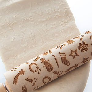 Merry Christmas Elk Wooden Print Rolling Pin | Christmas Home Decorations Rolling Pin | Navidad Decor Noel Dessert Tools | DIY Craft Rolling Pin | for Christmas Day New Year