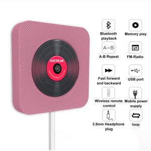 Wall Mounted Bluetooth CD Player | USB Drive Player | Pull Switch Player | Remote CD Player | HiFi Speaker Player | Headphone Jack AUX input/output