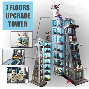 New Upgraded Version SuperHeroes Tower | Iron Man Marvel Attack Avenger Tower | Fit Legoings Avengers | Building Block Bricks Toy | For Boy Kid Gift