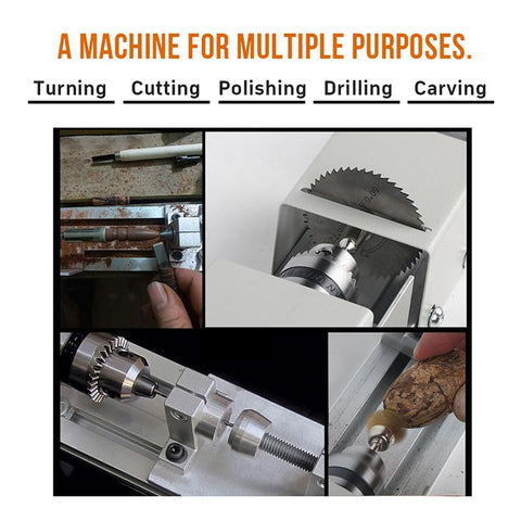Image of BLUEKIEE™ Multi Metal Mini Lathe Machine, DIY Wood Model Making Drill Mill, Woodworking Buddha Pearl Lathe, Grinding Polishing Beads 12-24VDC