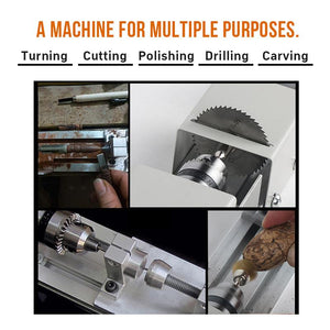 BLUEKIEE™ Multi Metal Mini Lathe Machine, DIY Wood Model Making Drill Mill, Woodworking Buddha Pearl Lathe, Grinding Polishing Beads 12-24VDC