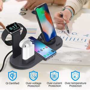 DIGITBLUE® Qi Wireless Charger 4 in 1 Holder Stand For Apple Watch Series 5 4 3 2 Iwatch Airpods Iphone 11 Pro Max XS MAX XR X Dock Station