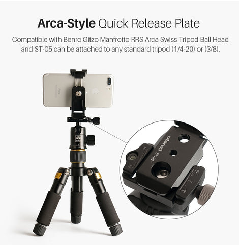Image of Top Foldable Mini Phone Tripod Head | Vertical 360 Rotation Tripod Stand | Tripod Mount Adapter For iPhone X 8 7 Samsung S8 7 Redmi