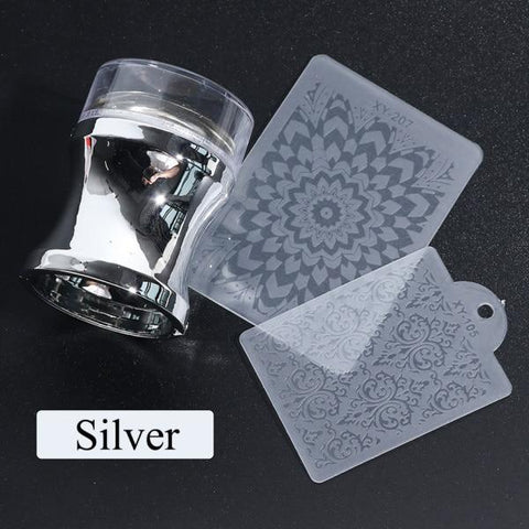 Image of BLUEKIEE™ Mirror Nail Stamper Clear Silicone Head Manicure Scraper Polish Transfer Template Kits with Cap Nail Art Stamping Plate CH1033-1