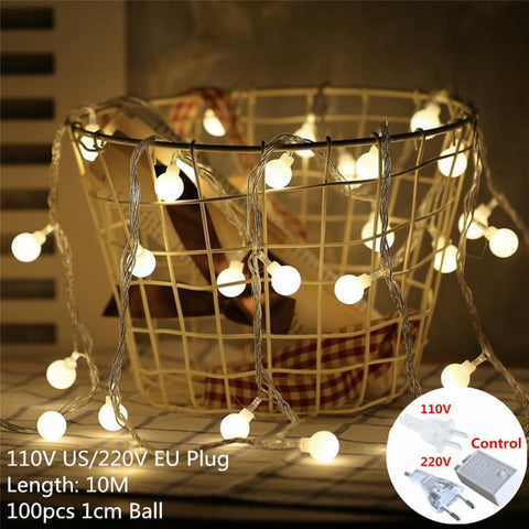 Christmas Led String Light | Outdoor Led String Decorations | Warm White 12 Lamp Lights | for Home Lights Decoracion