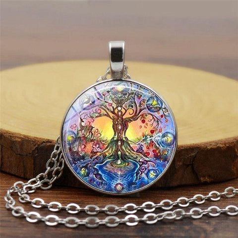 BLUEKIEE™ New Fashion Glass Art Picture Necklace Retro Tree of Life Necklace life tree pendant necklace Glass Dome Pendant Necklace