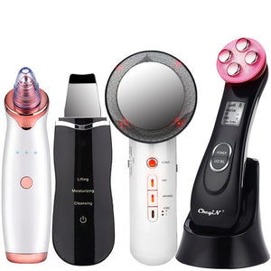 EMS Mesotherapy RF Radio Frequency Facial Beauty + Blackhead Remover + Ultrasoic Skin Scrubber + Infrared Body Slimming Massager