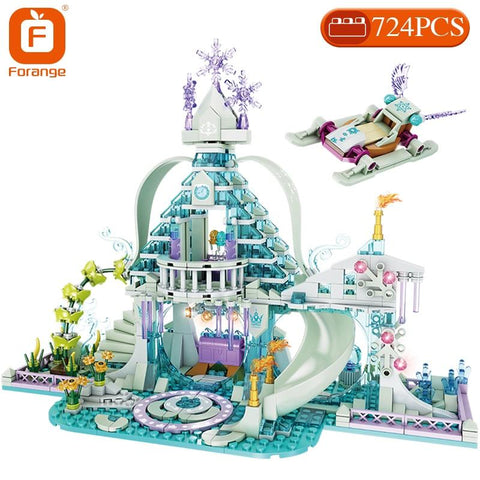 Image of BLUEKIEE™ Building Blocks Friends Girls Ice Snow Magic Castle Action Figure Carriage Princess Palace Brick Children Gift Toys